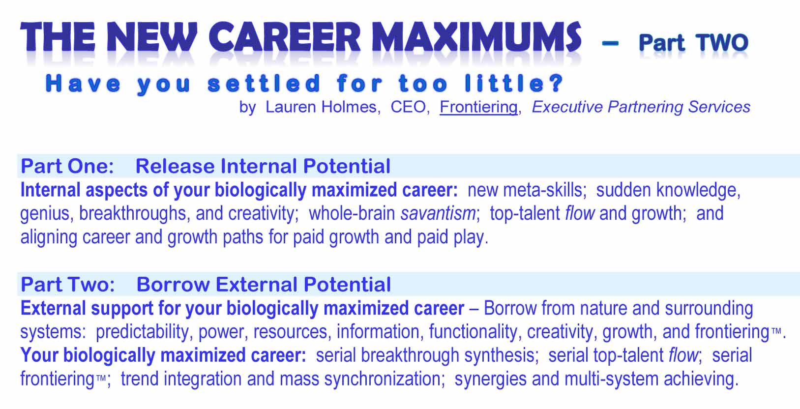 New Career Maximums  - Part Two