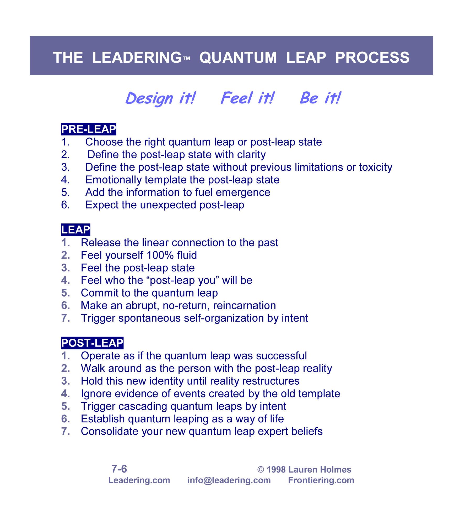 QUANTUM LEAP STEPS